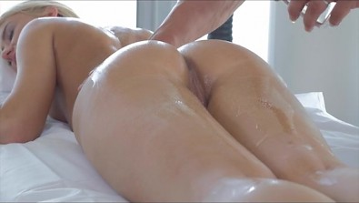Petite oiled Blondie katrin tequila gets fucked in her Ass