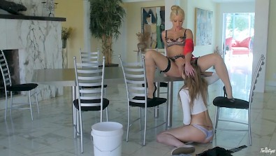 twistys lesbian session on the dining table with anikka albrite and naveen ora