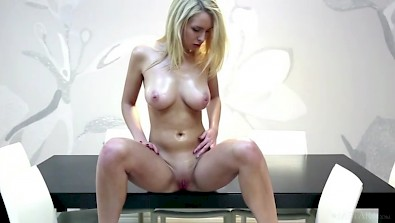 Beautiful busty girl Charlene massaged with oil her tits