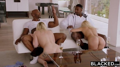 College blondies banged in this BBC foursome