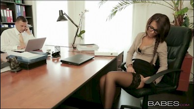 Cute secretary fucking with her boss