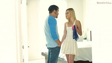 Cute blonde teen Kenzie Kai jumps on BFs dick