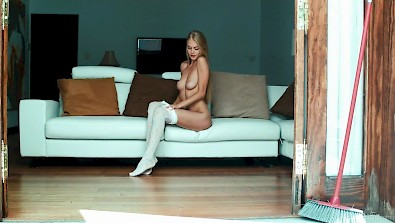 beautiful nancy in white pantyhose Masturbating for Creamy Orgasm