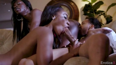 Two black babes Ana Foxxx and Chanell Heart sharing one guy