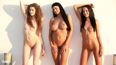 Three Euro girl Sapphira, Lucy and Heidi shows sexy bodies outdoor