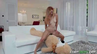 Tiny titted Cadence Lux having sex with teddy bear before she fucks real cock